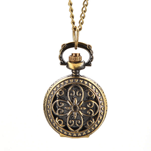 Retro Blossom Carved Pattern Necklace Pocket Watch S029