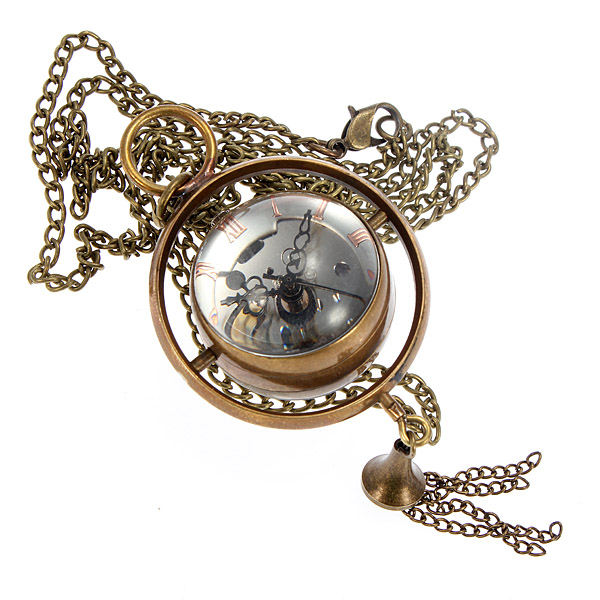 Retro Bronze Skeleton Glass Ball Quartz Pocket Watch Watch