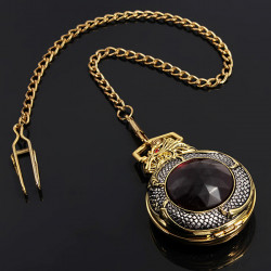 Retro Elegant Bronze Dragon Alloy Quartz Chain Pocket Watch