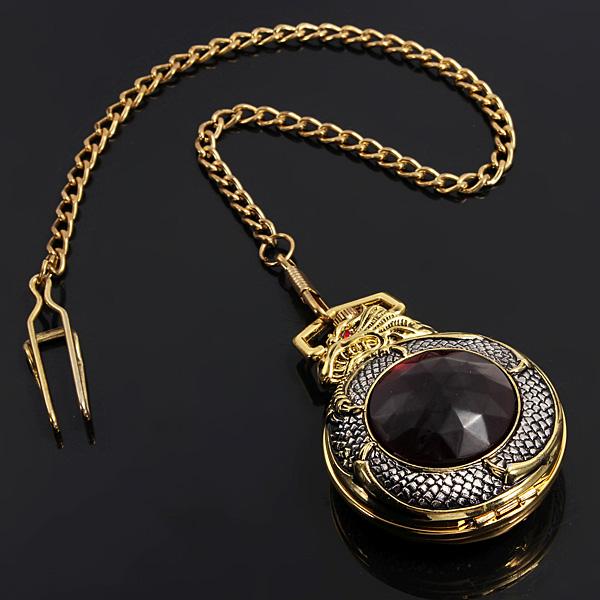 Retro Elegant Bronze Dragon Alloy Quartz Chain Pocket Watch Watch