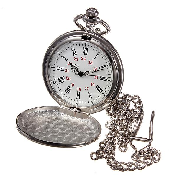 Retro Mirror Smooth Silver Necklace Vintage Quartz Pocket Watch