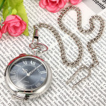 Retro Silver Magnifier Roman Numerals Quartz Women Pocket Watch Watch