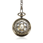 Retro Vintage Chain Hollow Flower DAD Bronze Mechanical Pocket Watch Watch