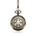 Retro Vintage Chain Hollow Flower DAD Bronze Mechanical Pocket Watch
