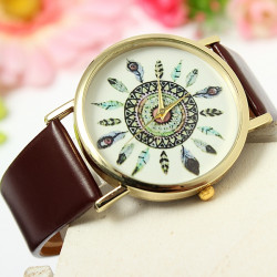 Retro Women Vintage Peacock Feather Leather Quartz Wrist Watch