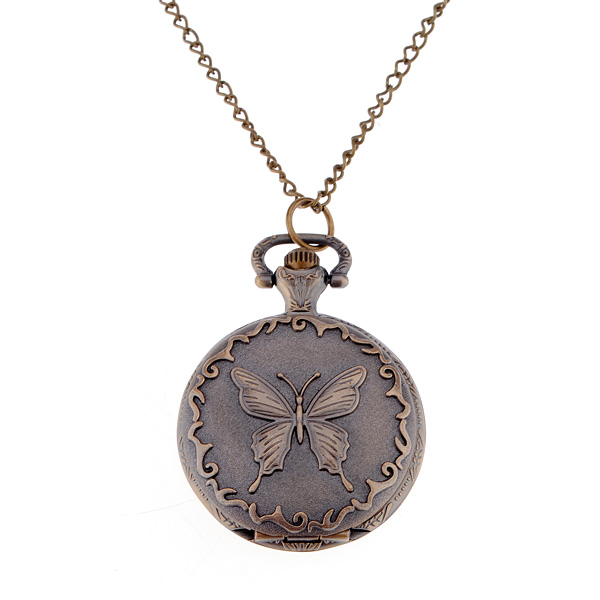 Retro style Butterfly Quartz Pocket Watch Necklace for Gift Watch
