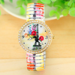 Rhinestone Rose Eiffel Town Printed Elastic Stainless Steel Band Watch