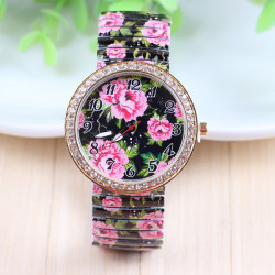 Rhinestone Rose Printed Elastic Stainless Steel Band Watch