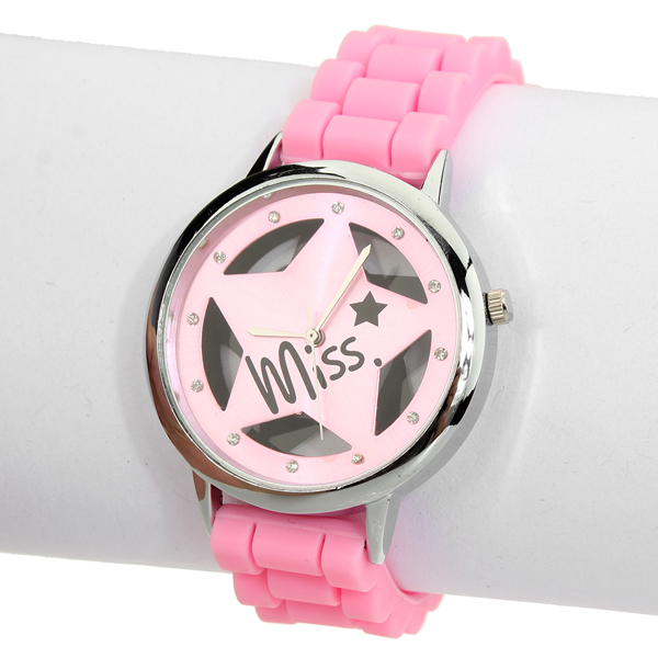 Rubber Hollow Transparent Star Rhinestone Women Wrist Watch