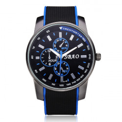 SBAO Rubber Big Dial 3 Dial Black Men Wrist Quartz Watch
