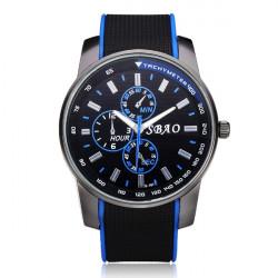 SBAO Rubber Big Dial 3 Dial Black Men Wrist Quartz Watch