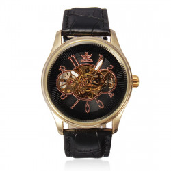 SEWOR Black Dial Mechanical Leather Skeleton Wrist Watch