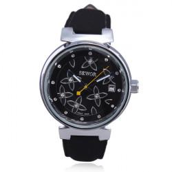 SEWOR Flower Nubuck Leather Automatic Mechanical Women Wrist Watch
