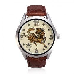SEWOR Leather Mechanical Horse Big Dial Watch