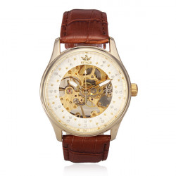 SEWOR Leather Skeleton Mechanical Big Dial Rhinestone Luxury Watch