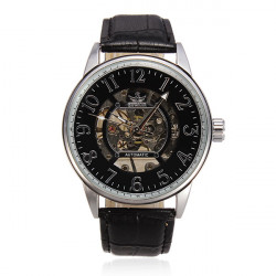 SEWOR Leather Skeleton Mechanical Big Dial Round Men Watch