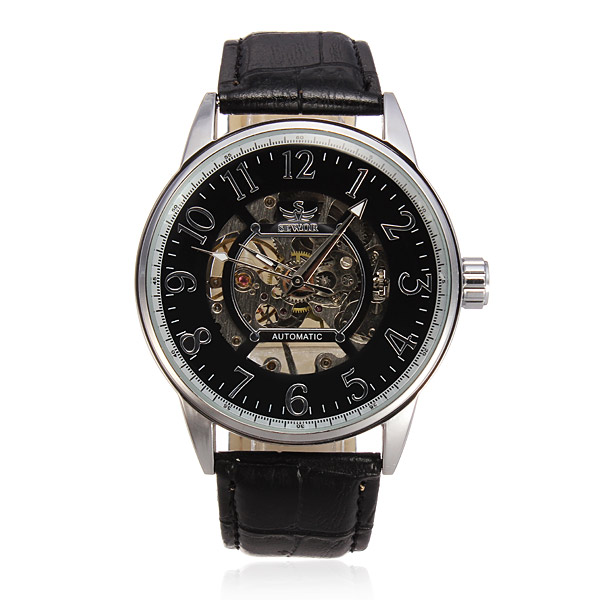 SEWOR Leather Skeleton Mechanical Big Dial Round Men Watch Watch