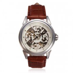 SEWOR Mechanical Leather Skeleton Wrist Watch