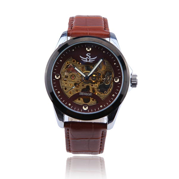 SEWOR Skeleton Automatic Mechanical Leather Men Wrist Watch Watch