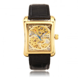 SEWOR Square Gold Case Leather Band Mechanical Watch