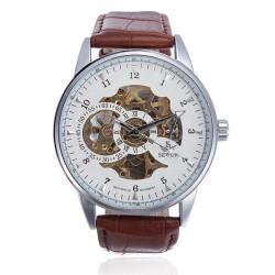 SEWOR White Automatic Mechanical Skeleton Leather Men Wrist Watch