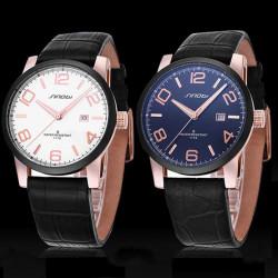 SINOBI 1116 Black Leather White Calendar Men Quartz Wrist Watch