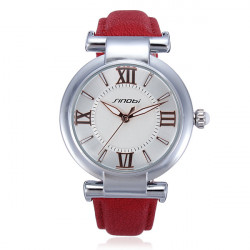 SINOBI Leather Red Analog Quartz Women Bracelet Wrist Watch