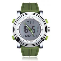 SINOBI S9368 Green Rubber Calendar Week Men Quartz Wrist Watch