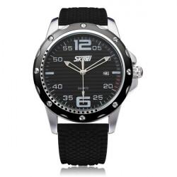 SKMEI 0992 Date Calendar Round Black Rubber Men Wrist Quartz Watch