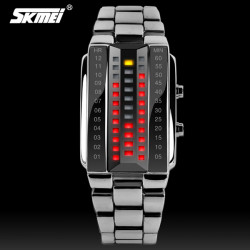 SKMEI 1013 Stainless Steel Band Digital Waterproof Quartz Watch