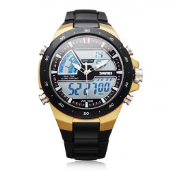 SKMEI 1016 Sport Analog Digital Black Mlilitary Date Week Men Watch