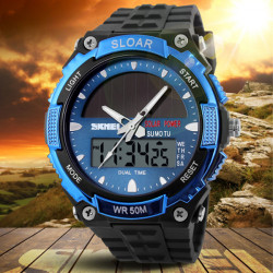SKMEI 1049 Solar Power Dual Time Waterproof LED Analog Digital Watch