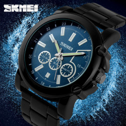 SKMEI 1069 Black Full Steel Blue Dial Waterproof Quartz Sport Watch