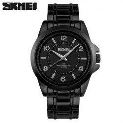 SKMEI 1072 Black Stainless Steel Waterproof Quartz Wrist Watch