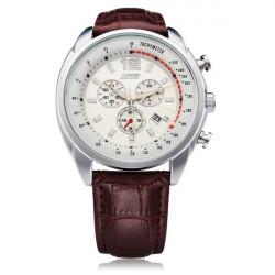SKMEI 6852 Black White PU Leather Date Number Men Wrist Quartz Watch