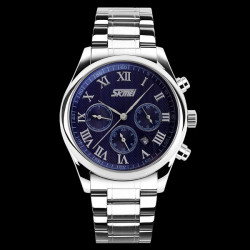 SKMEI 9078 Stainless Steel Leather Band  Date Waterproof Wrist Watch