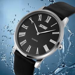 SKMEI 9092 Leater Band Ultra-thin Dial Waterproof Quartz Watch