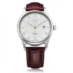 SKMEI Black White PU Leather Date Roman Men Wrist Quartz Watch
