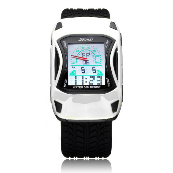 SKMEI Car Back Light Waterproof Digital Rubber Sport Watch 2021