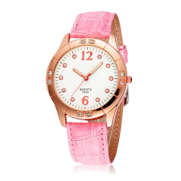 SYNOKE Women Fashion Casual Crystal Scale Leather Quartz Watch Watch