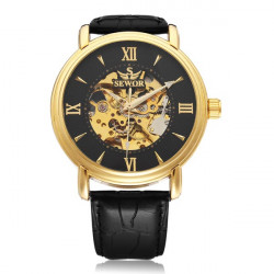 Sewor Automatic Romen Black PU Leather Mechanical Men Wrist Watch