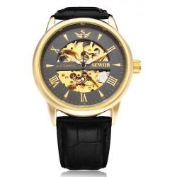 Sewor Automatic Romen Black PU Leather Mechanical Men Wrist Watch