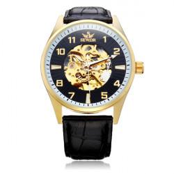 Sewor Big Dial Number Black PU Leather Mechanical Men Wrist Watch
