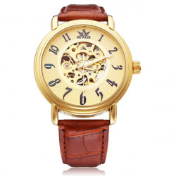 Sewor Big Dial Number Brown PU Leather Mechanical Men Wrist Watch
