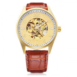 Sewor Big Dial Number Brown PU Leather Mechanical Men Wrist Watch