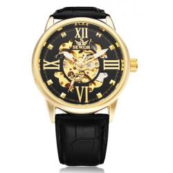 Sewor Big Dial Romen Black PU Leather Mechanical Men Wrist Watch
