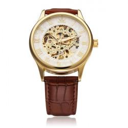 Sewor Black Brown Gold Mechanical Roman Men Wrist Watch