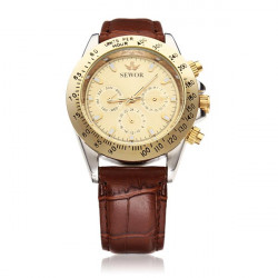 Sewor Black Brown Mechanical 3 Dial Military Men Wrist Watch
