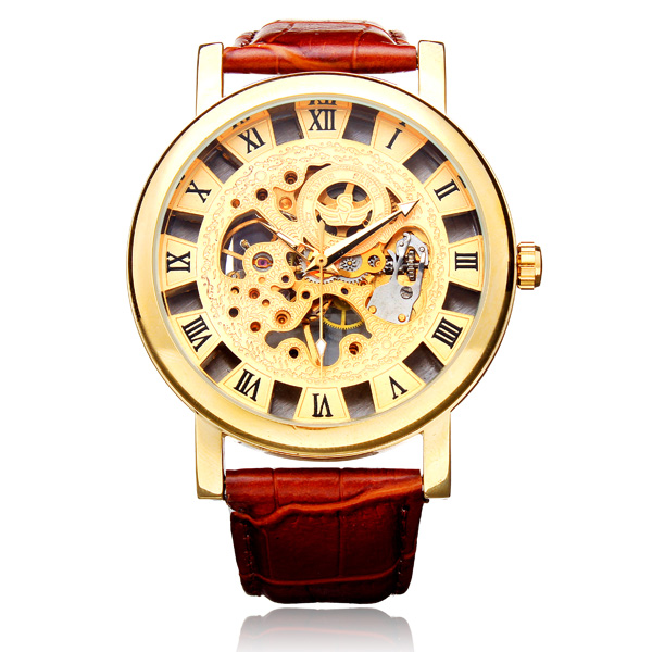 Sewor Brown PU Leather Automatic Mechanical Roman Skeleton Men Watch Watch