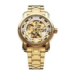 Sewor Gold Black Mechanical Roman Stainless Steel Men Wrist Watch